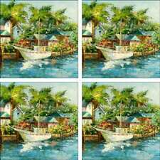 Tropical Art Accent & Decor Tile Set Ching Sailboat Ceramic CH092
