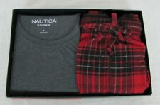 Nautica mens pajama set 2 piece short sleeve tee and flannel pants size S NEW