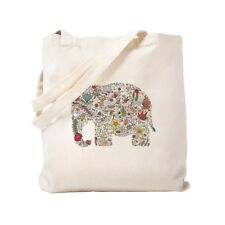 CafePress - Floral Elephant Silhouette - Tote Bag