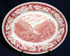 Homer Laughlin China Currier + Ives Red Oval Serving Platter 11