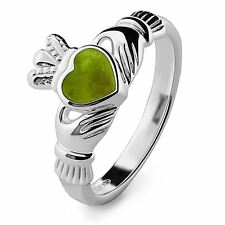 New Silver and Marble Heart Celtic Claddagh Ring Made In Ireland Gift Boxed