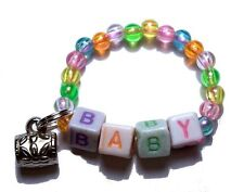 PERSONALIZED REBORN BRACELET BABY BLOCKS NAME ORANGE YELLOW GREEN BLUE PINK