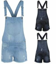 Ladies Traditional Vintage Ripped Denim Short  Dungarees Jeans Pant Play Suit