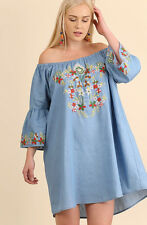 UMGEE Blue Peasant Dress Mexican Embroidered Off Shoulder Summer Beach Mini