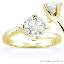Round Brilliant Cut Moissanite 14k Yellow Gold Bypass Solitaire Engagement Ring