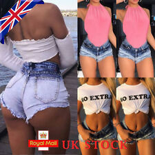 Vintage Womens Denim High Waisted Shorts Jeans Ladies Hotpants UK 8 12 14 16 18