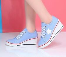 Women Round Toe Lace Up Wedge Canvas Casual Shoes College New Athletic Sneaker