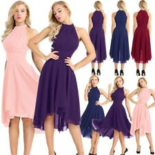 Pretty Bridal Womens High Low Short Bridesmaid Dresses Chiffon Halter Prom Dress