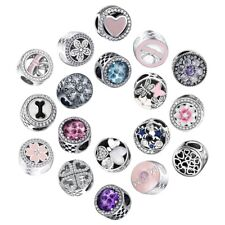 CZ Love Heart Charms Bead  Fit 925 Silver Sterling Bracelets Necklace