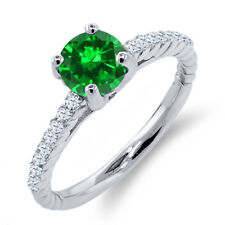 1.72 Ct Green Simulated Emerald White Created Sapphire 925 Sterling Silver Ring
