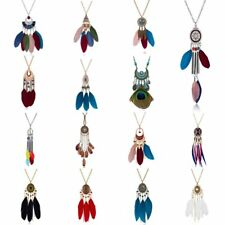 Ethnic Boho Women Peacock Feather Bead Pendant Necklace Sweater Chain Jewelry