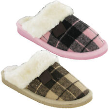 Womens Mule Slippers Warm Cushion Walk Checked Lined Flat Indoor Outdoor UK 4-8