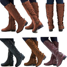 Women Riding Cross Leather Mid Biker Calf Boots Lace Up Over Knee Booties Boots
