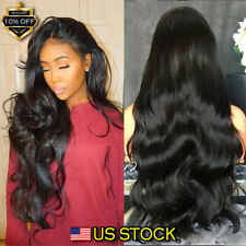 28'' Womens Long Wavy Curly Blonde Full Black Hair Wigs Ladies Party Dress USA