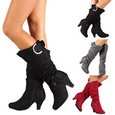 Womens Knee Thigh High Stiletto Heel Ladies Stretch Mid Calf Boots Shoes Size