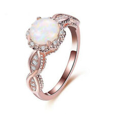 Valentine's European Flower Style White Fire Opal Rose Gold Plated Rings Sz 6-9