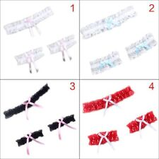 Women Wedding Bridal Floral Lace Leg Ring Wrist Band Bowknot Thigh Garter Belt