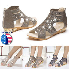 Women Roman Style Sandals Rhinestone Zipper Low Heel Open Toe Shoes Size Crystal