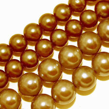 GLASS PEARLS JEWELRY BEADS BRIGHT GOLD 4MM 6MM 8MM FAUX PEARL BEAD STRAND GP19