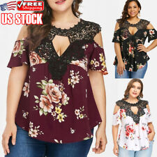 Womens Floral Off Shoulder Tops Shirt Plus Size Lace Casual Loose Blouse T-Shirt