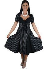 Rockabilly Pinup Vintage 50s Black White Polka dot Swing Party Dress Sleeves