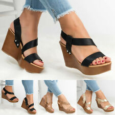 Womens Platform Ankle Strap Sandals Ladies Wedge Heel Summer Casual Shoes Size