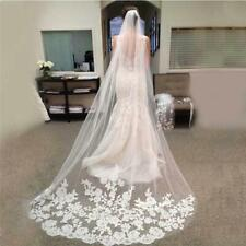 Ivory Cathedral Wedding Bridal Veils Lace Applique Edge Veil Dress With Comb 3M
