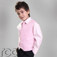 BOYS BLACK PINK CRAVAT WAISTCOAT PAGEBOY WEDDING SUIT