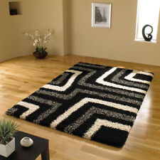 Shaggy Modern Black Grey Rug Carpet in Various Sizes