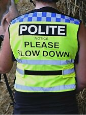 Equisafety Polite High Viz Waistcoat - Slow Down - horse riding - fluorescent