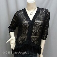 Elegant Floral Lace Sheer Cardigan Blouse Top Black M/L