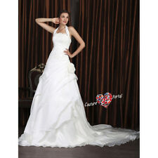 A-line Halter Court Train Wedding Dress With Appliques