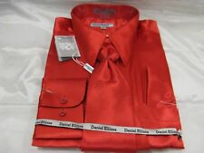 New D & E Satin Dress Shirt w/Tie and Hanky Red