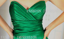 Green Satin Strapless Empire Waist Formal Bridesmaid Evening Dress AU 6~20