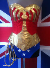 wonder woman corset costume with hotpants, briefs,skirt