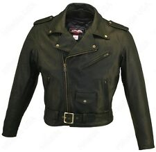 MADE IN USA THICK NAKED LEATHER CLASSIC MOTORCYCLE BIKER JACKET WITH GUN POCKETS