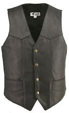 MADE IN USA MENS HORSEHIDE LEATHER MOTORCYCLE BIKER VEST GUN CONCELMENT POCKETS