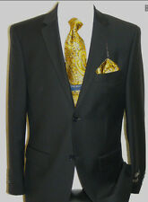 GIORGIO SOLID BLACK 2 BUTTON WOOL CASHMERE BLEND BUSINESS DESIGNER SUIT