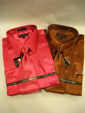 New D&E Long Sleeves Wrinkle free Satin Dress Shirt w/ Tie and Hanky Pink,Brown