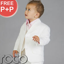BOYS WHITE LINEN 3PC WEDDING PAGEBOY OUTFITS PROM SUIT