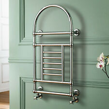 Heated Designer Traditional Chrome Bathroom Towel Rail Radiator Rad with Valves