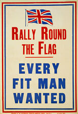W81 Vintage WWI British Every Fit Man Wanted Enlist Army War Poster WW1 A1 A2 A3
