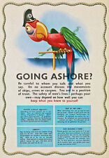 2W26 Vintage WWII Going Ashore? Keep Quiet Warning War Poster WW2 A2 A3
