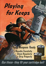 2W69 Vintage WWII Keep Weapons Ready Wartime War Poster WW2 A2 A3