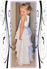 X♥O♥X ~Girls 6 Tiered White Satin & Chiffon Flowergirl or Christening Dress Gown