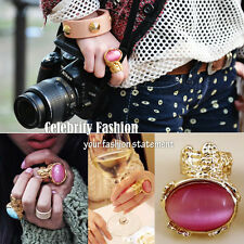 jwr1P Celebrity Style Fashion Arty Metal Gold-plated Oval Stone Ring in PINK