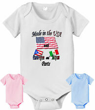 MADE IN USA WITH PUERTO RICAN AND MEXICAN PARTS INFANT BABY BODYSUIT