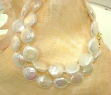 "Color Variety Bead-Nucleated Freshwater Cultured Coin Pearls Necklace 16""-18"""