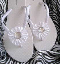 White Bridal Flip Flops-Brides, Bridesmaid, Beach, Outdoor Wedding Rhinestone