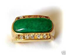 Chinese Green Jade 18K Gold & White Gold Plated Men's Women's Ring Size 10, 11